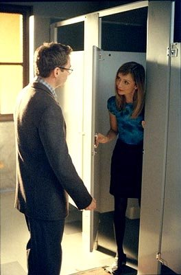 "Ally (Calista Flockhart, R) continues to seek advice from Larry (Robert Downey Jr., L) -- even while in the Unisex -- in the ""Two?s A Crowd"" episode of Ally McBeal Ally McBeal"