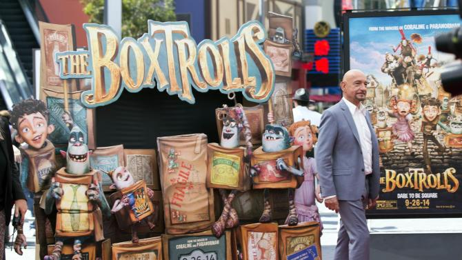 "Cast member Ben Kingsley poses at the premiere of ""The Boxtrolls"" at Universal Studios City Walk in Universal City, California"