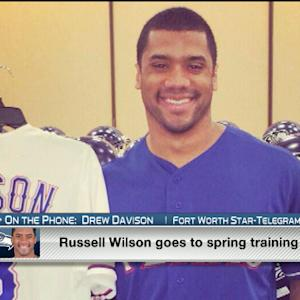 Seattle Seahawks QB Russell Wilson at Texas Rangers camp to motivate young players