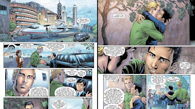"This combo made from images provided by DC Entertainment shows pages from the second issue of the company's ""Earth 2"" comic book series featuring Alan Scott, the alter ego of its Green Lantern character, who is revealed to be gay. The reveal is the latest example of how comics publishers big and small are making their characters just as diverse as the people who read their books. The issue will be available on June 6, 2012 (AP Photo/DC Entertainment)"