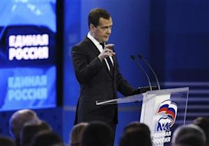Russian PM Medvedev speaks during the United Russia political party convention in Moscow