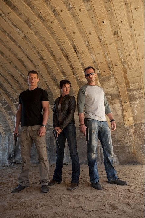 "Philip Winchester stars as Stonebridge, Amanda Mealing stars as Grant, and Sullivan Stapleton stars as Scott in ""Strike Back."""