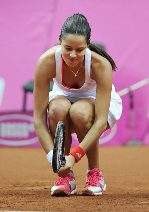 Ana Ivanovic Of Serbia Reacts AFP/Getty Images