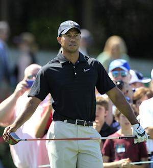Tiger Woods waits to tee off on the 10th hole in the Pro-Am during the Memorial golf tournament at the Muirfield Village Golf Club in Dublin, Ohio, Wednesday, May 30, 2012. (AP Photo/Tony Dejak)
