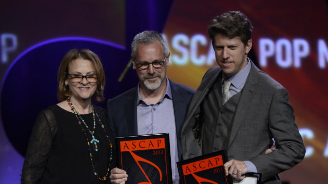 """ASCAP's  Brendan Okrent and songwriters David Gamson and Greg Kurstin who received the ASCAP Pop Song Award for """"Stronger (What Doesn't Kill You)"""" are seen onstage at the 30th Annual ASCAP Pop Music Awards, on Wednesday, April 16, 2013, at Loews Hollywood Hotel in Hollywood, California. (Photo by Phil McCarten/Invision for ASCAP/AP Images)"""