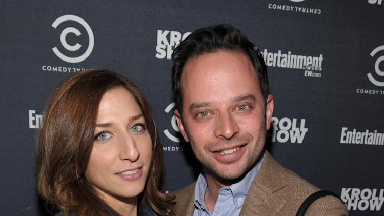 "Actress Chelsea Peretti, left, and actor/comedian Nick Kroll attend an exclusive screening of Comedy Central's ""Kroll Show"" hosted by Entertainment Weekly on Tuesday, January 15, 2013 at LA's Silent Movie Theatre in Los Angeles. (Photo by John Shearer/Invision for Entertainment Weekly/AP Images)"