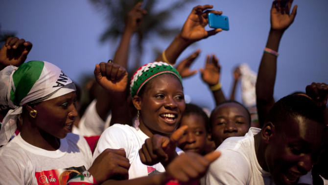 Ruling party supporters attend a rally to celebrate the election victory of incumbent Ghana President John Dramani Mahama in Friday's presidential elections, in Accra, Ghana, Monday, Dec. 10, 2010. Ghana's opposition met on Monday to discuss whether to accept the results of the recent presidential election, which handed victory to incumbent President Mahama. (AP Photo/ Gabriela Barnuevo)