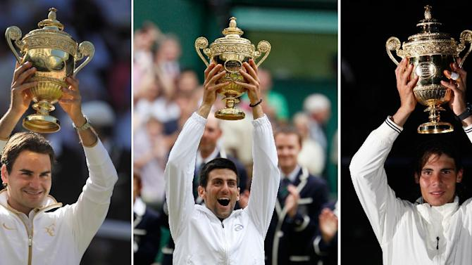 This combo made from 2009, left, 2008, center, and 2011 file photos shows from left: Roger Federer, Rafael Nadal and Novak Djokovic after winning at Wimbledon. As Novak Djokovic, Rafael Nadal and Roger Federer step back on the grass at Wimbledon, each has reason to believe he'll be hoisting the trophy overhead in two weeks' time. Indeed, it's tough to imagine anyone outside that trio winning this year's championship at the All England Club, where play begins Monday June 25, 2012. (AP Photo/FILE)