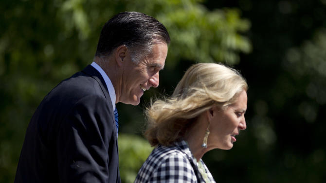 Republican presidential candidate and former Massachusetts Gov. Mitt Romney and his wife Ann, leave the Church of Jesus Christ of Latter-day Saints after church service on Sunday, Aug. 26, 2012, in Wolfeboro, N.H.  (AP Photo/Evan Vucci)