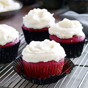 Red Velvet Cupcakes with Orange Buttercream