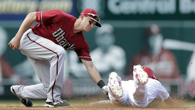 St. Louis Cardinals' Kolten Wong, right, is tagged out by Arizona Diamondbacks shortstop Nick Ahmed while attempting to steal second during the fifth inning of a baseball game Monday, May 25, 2015, in St. Louis. (AP Photo/Jeff Roberson)