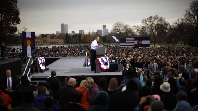 FILE - In this Oct. 24, 2012, file photo, President Barack Obama speaks at a campaign event at City Park in Denver. The economy President Obama will face over the next four years remains slow and at risk, but signs suggest that the next four years will coincide with a vastly healthier economy than the previous four, which overlapped the Great Recession. (AP Photo/Pablo Martinez Monsivais, File)