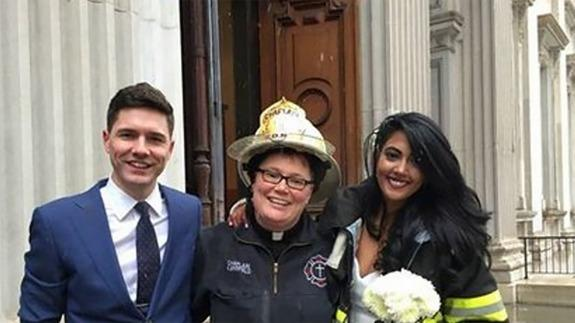 NY Fire Department chaplain saves wedding nearly wrecked by crane crash