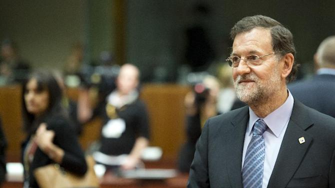 Spain's Prime Minister Mariano Rajoy arrives for a round table meeting at an EU summit in Brussels on Thursday, Dec. 13, 2012. In one whirlwind morning, the European Union nations agreed on the foundation of a fully-fledged banking union and Greece's euro partners approved billions of euros in bailout loans that will prevent the nation from going bankrupt. (AP Photo/Geert Vanden Wijngaert)