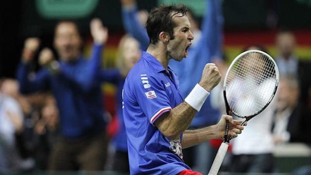 Czech Republic's Radek Stepanek reacts during the Davis Cup tennis tournament final match against Spain's Nicolas Almagro in Prague