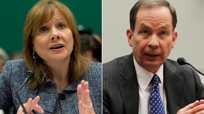 In this combo made from file photos, General Motors CEO Mary Barra testifies before the House Energy and Commerce subcommittee on Oversight and Investigation on Tuesday, April 1, 2014, left, and former U.S. Attorney Anton R. Valukas testifies before the House Financial Services Committee on April 20, 2010, on Capitol Hill in Washington. Barra and Valukas will appear on June 18, 2014 before the House Energy and Commerce Committee's oversight subcommittee, the panel announced Wednesday. (AP Photo/Evan Vucci, Charles Dharapak)