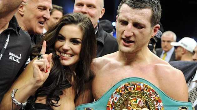 Carl Froch celebrates a victory with wife Rachael Cordingley
