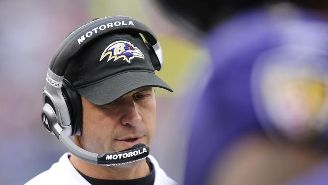 Baltimore Ravens head coach John Harbaugh looks on from the sideline in the second half of an NFL football game against the Cincinnati Bengals in Baltimore, Sunday, Nov. 20, 2011. Baltimore won 31-24. (AP Photo/Nick Wass)