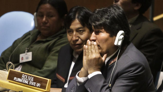 Evo Morales, right, President of Bolivia, listen to speakers at a United Nations General Assembly meeting, marking the global launch of the International Year of Quinoa of Wednesday, Feb. 20, 2013. President Morales has been named Special Ambassador for the International Year of Quinoa, to raise awareness of the nutritional, economic, environmental and cultural value of quinoa, a food that has been traditionally cultivated for thousands of years in Andean communities. (AP Photo/Bebeto Matthews)