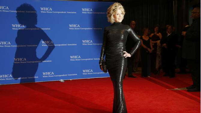 Actress Jane Fonda arrives for the annual White House Correspondents' Association dinner in Washington