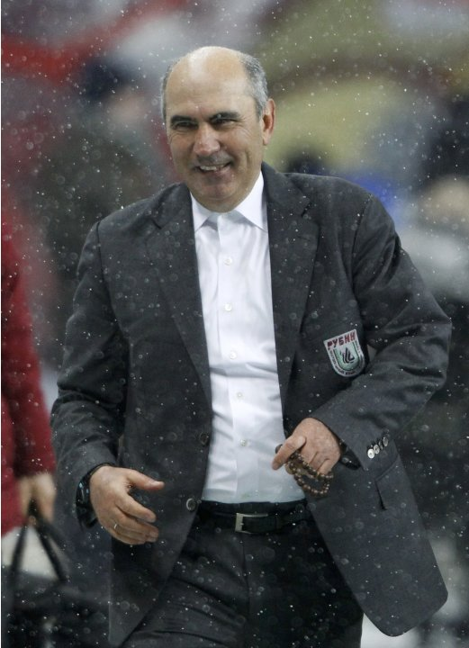 Rubin Kazan's coach Kurban Berdyev reacts after the Europa League soccer match against Levante at the Luzhniki stadium in Moscow