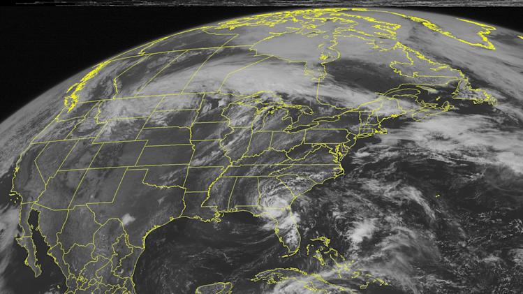 This NOAA satellite image taken Monday, May 28, 2012 at 01:45 PM EDT shows clouds over Florida and Georgia associated with Tropical Depression Beryl as it continues to produce rain and thunderstorms over the region. Several inches of rain are possible by the time the storm exits the region and moves to the northeast.  Clouds in the Plains are associated with a front that may instigate showers and thunderstorms in the afternoon.  Some of these thunderstorms may be severe. (AP Photo/Weather Underground)