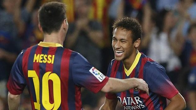 Barcelona's Neymar and Lionel Messi