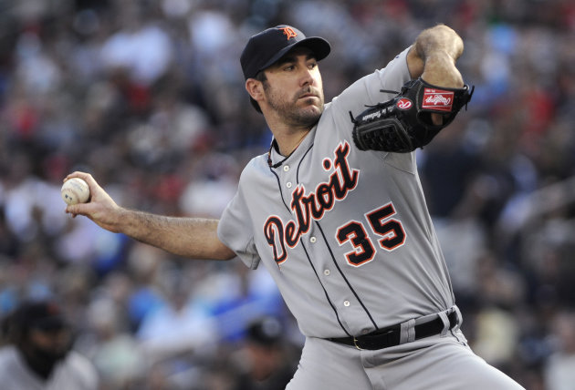 Detroit Tigers pitcher Justin Verlander throws to a Minnesota Twins batter during the first inning of a baseball game Saturday, Sept. 29, 2012 in Minneapolis. (AP Photo/Jim Mone)