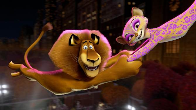 """This film image released by DreamWorks Animation shows, Alex the Lion, voiced by Ben Stiller, left, and Gia the Jaguar, voiced by Jessica Chastain, in a scene from """"Madagascar 3: Europe's Most Wanted."""" (AP Photo/DreamWorks Animation - Paramount Pictures)"""