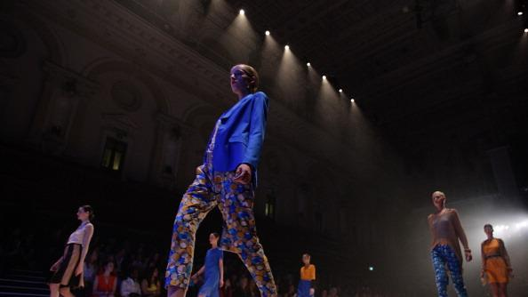 Models showcase designs by Gary Bigeni on the catwalk as part of Mercedes Benz Fashion Festival Sydney 2012 at Sydney Town Hall on August 25, 2012 in Sydney, Australia. (Photo by Lisa Maree Williams/Getty Images)