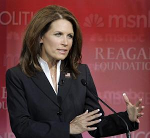 In a Wednesday, Sept. 7, 2011 photo, Republican presidential candidate Rep. Michele Bachmann, R-Minn., answers a question during a Republican presidential candidate debate at the Reagan Library, in Simi Valley, Calif. Starting this weekend, Bachmann plans to campaign almost exclusively in the state as she tries to reassert herself in a race that's become a two-candidate contest between Texas Gov. Rick Perry and former Massachusetts Gov. Mitt Romney. (AP Photo/Jae C. Hong)