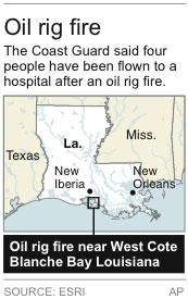 Map locates oil rig fire on the south-central Louisiana coast