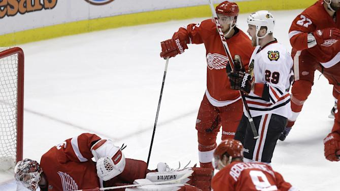 Chicago Blackhawks left wing Bryan Bickell (29) celebrates his goal on Detroit Red Wings goalie Jimmy Howard (35) during the third period of Game 6 of the NHL hockey Stanley Cup playoffs Western Conference semifinals in Detroit, Monday, May 27, 2013. (AP Photo/Carlos Osorio)