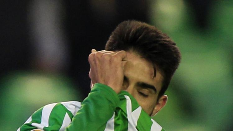 Real Betis' Chuli laments after missing a scoring opportunity against Rijeka during their Europa League soccer match in Seville