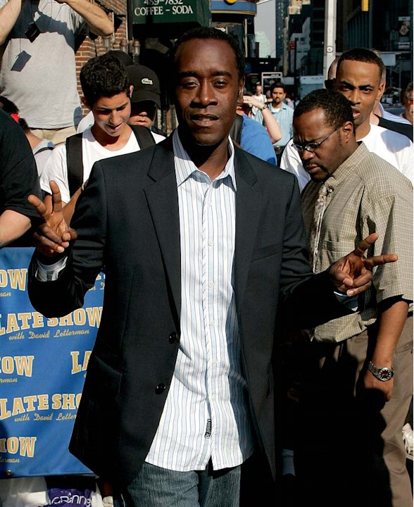 Don Cheadle departs the Ed Sullivan Theater after taping a segment of The Late Show with David Letterman. 