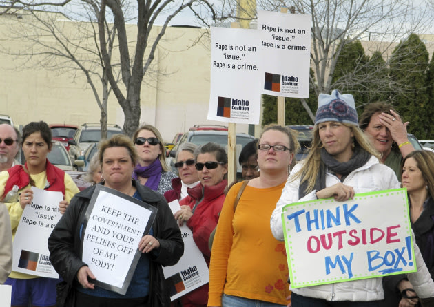 Protesters opposed to legislation in Boise, Idaho, March 21, 2012.