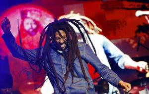 Julian Marley performs at a concert celebrating his father's 69th birthday in Kingston