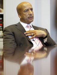 FILE - In this Tuesday, Dec. 23, 2008 file photo, New Orleans Mayor Ray Nagin speaks during an interview in his office at City Hall in New Orleans. The former New Orleans mayo was indicted Friday, Jan. 18, 2013 on 21 corruption charges including wire fraud, bribery and money laundering. The charges come from a City Hall corruption investigation that already has resulted in guilty pleas by two former city officials and two businessmen. (AP Photo/Alex Brandon)