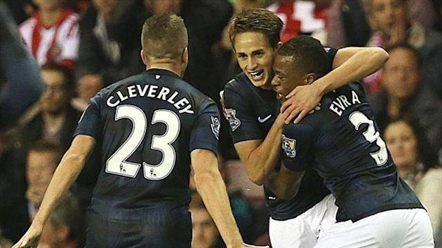 Adnan Januzaj of Manchester United celebrates with team-mates (AFP)