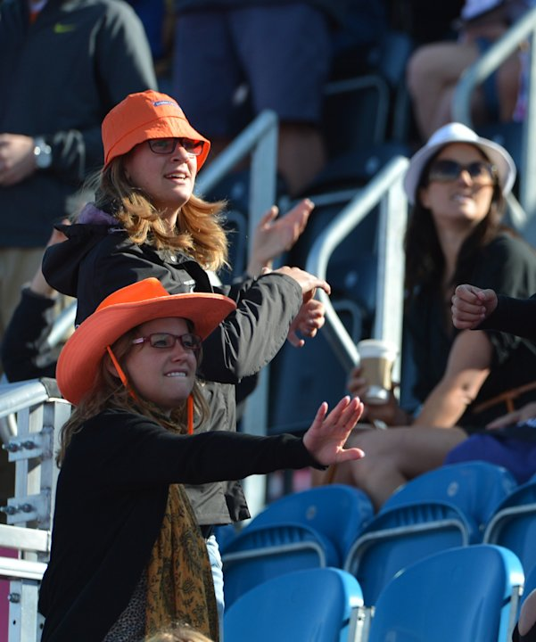 Netherlands' fans dance on music during