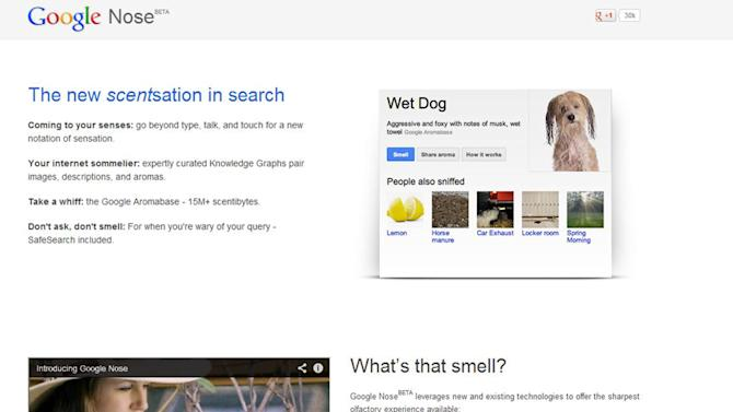 """This frame grab image released by Google shows the Google Nose site, a parody site in celebration of April Fools' Day. Having already debuted its wearable Google Glass, the company on Monday showcased """"Google Nose,"""" adding scents to it search results. (AP Photo/Google)"""
