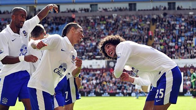 Goalscorers Steven Pienaar and Marouane Fellaini celebrate as Everton go on to defeat Aston Villa at Villa Park (AFP)