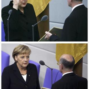 A combination picture shows German Chancellor Merkel being sworn-in by Parliament President Lammert in 2005, 2009 and 2013