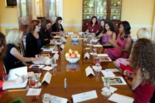 First Lady Michelle Obama (third from right) holds a roundtable discussion on the