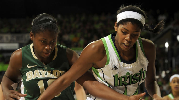 Notre Dame forward Ariel Braker, right, and Baylor forward Destiny Williams battle for a rebound during the first half of an NCAA college basketball game on Wednesday, Dec. 5, 2012, in South Bend, Ind.  (AP Photo/Joe Raymond)