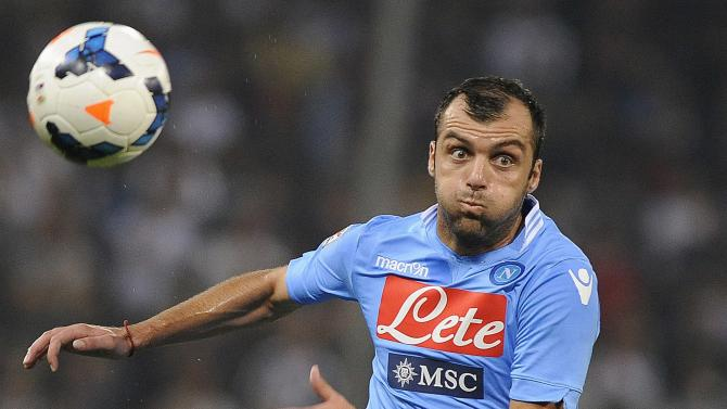 Napoli's Goran Pandev controls the ball during the Italian Serie A soccer match against Genoa at the Marassi stadium in Genoa