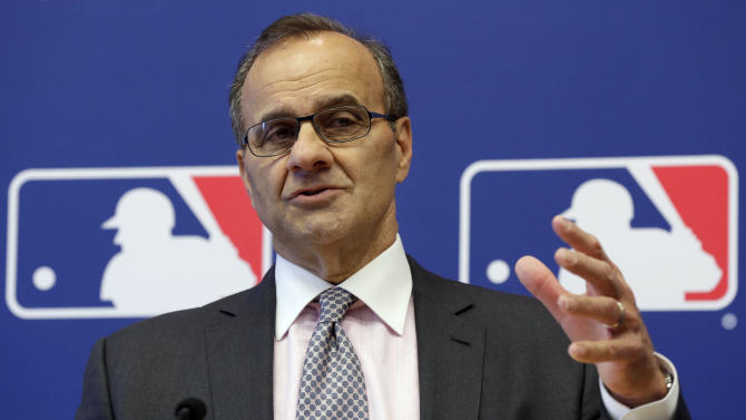 Major League Baseball executive vice president Joe Torre responds a question during a news conference at MLB headquarters, in New York,  Thursday, May 16, 2013. Major League Baseball hopes to expand video review by umpires for the 2014 season and says all calls other than balls and strikes could be subject to instant replay. Torre hopes to have proposals by the August owners' meeting. (AP Photo/Richard Drew)