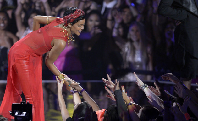 Rihanna performs at the MTV Video Music Awards on Thursday, Sept. 6, 2012, in Los Angeles. (Photo by Mark J. Terrill/Invision/AP)