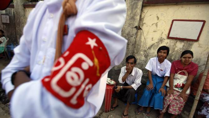 File picture of NLD party members sitting at a tea shop in Yangon