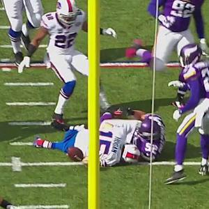 Buffalo Bills wide receiver Chris Hogan fumbles